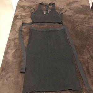 Bebe Midi Skirt & Crop Top Set Black, Size Large